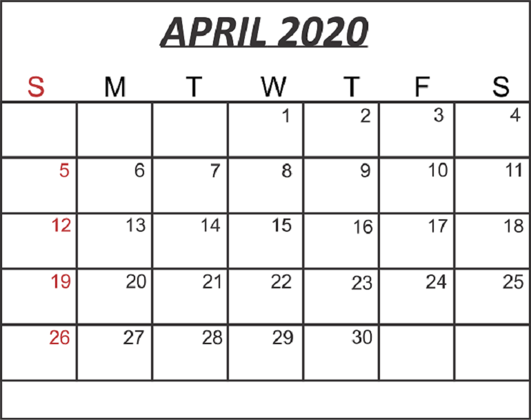 April 2020 Blank Calendar PDF