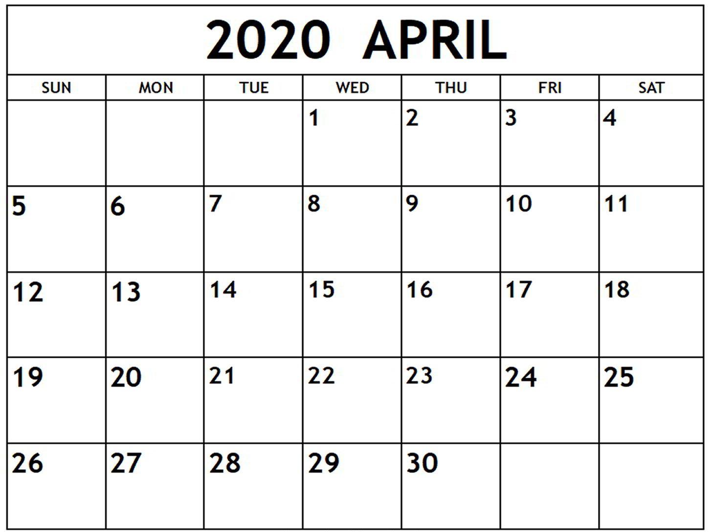 April 2020 Calendar Page PDF