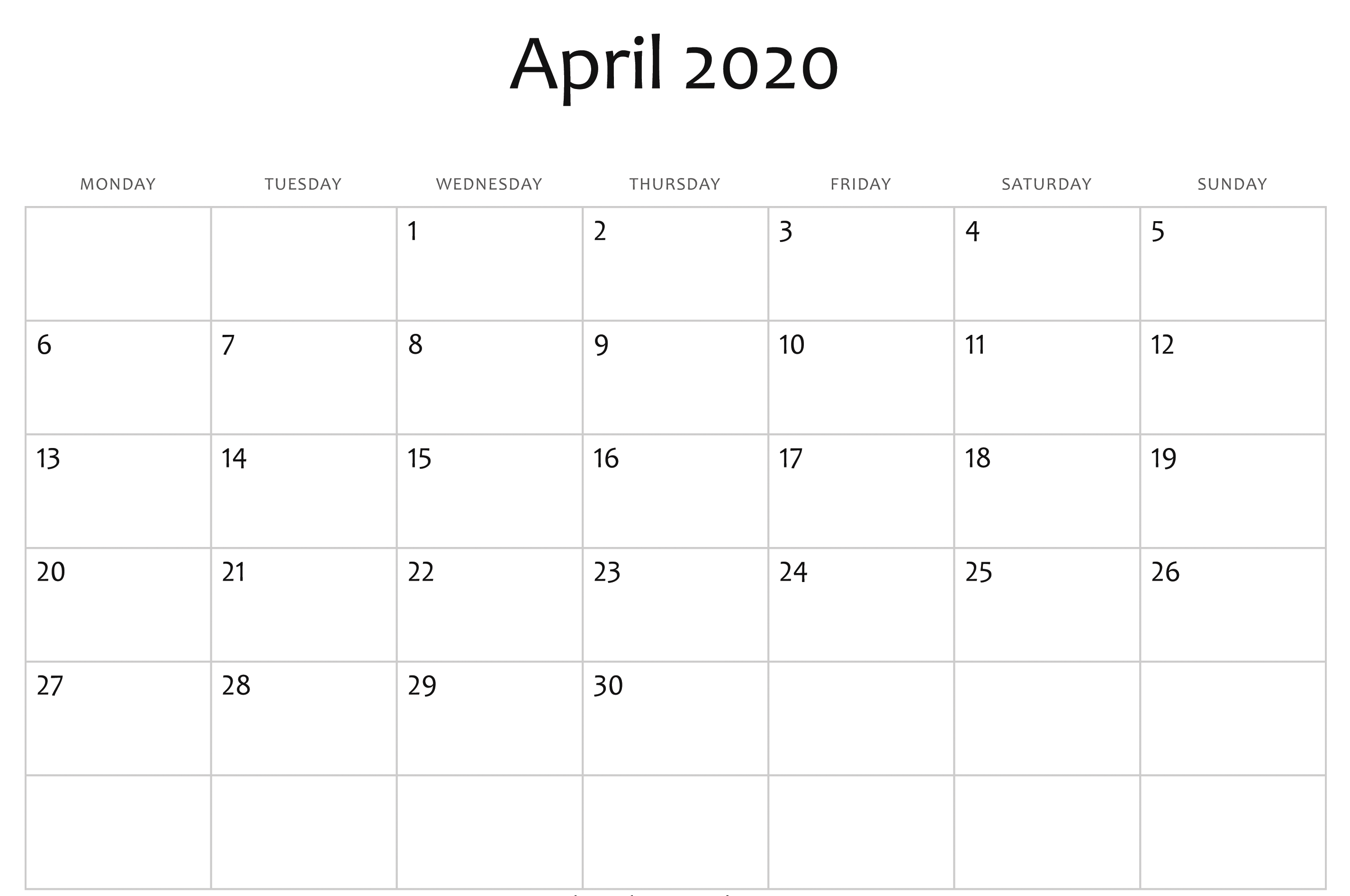 April 2020 Calendar Word Doc