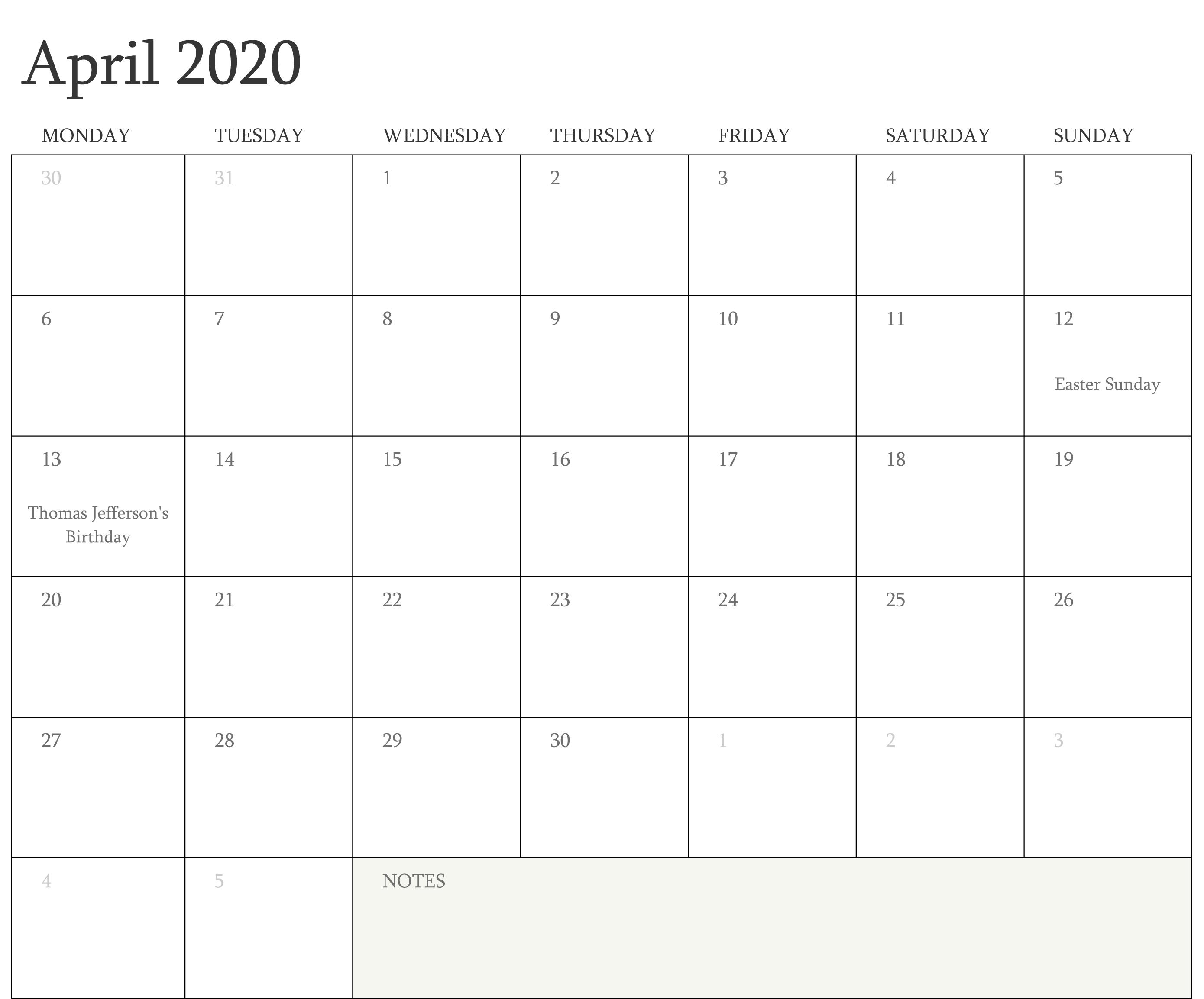 April 2020 Calendar Word