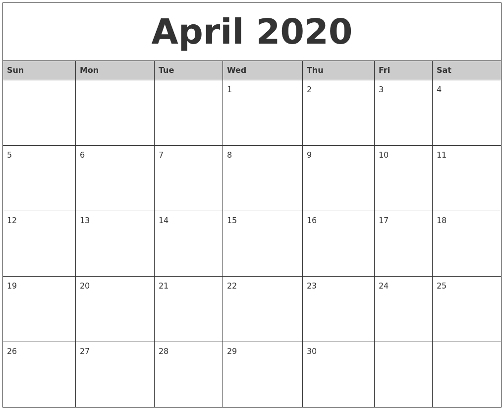 Monthly April 2020 Calendar Printable