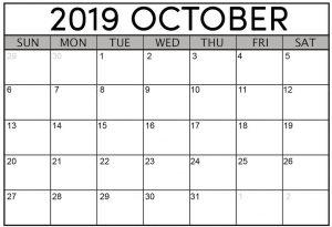 Calendar for October 2019 Printable Template