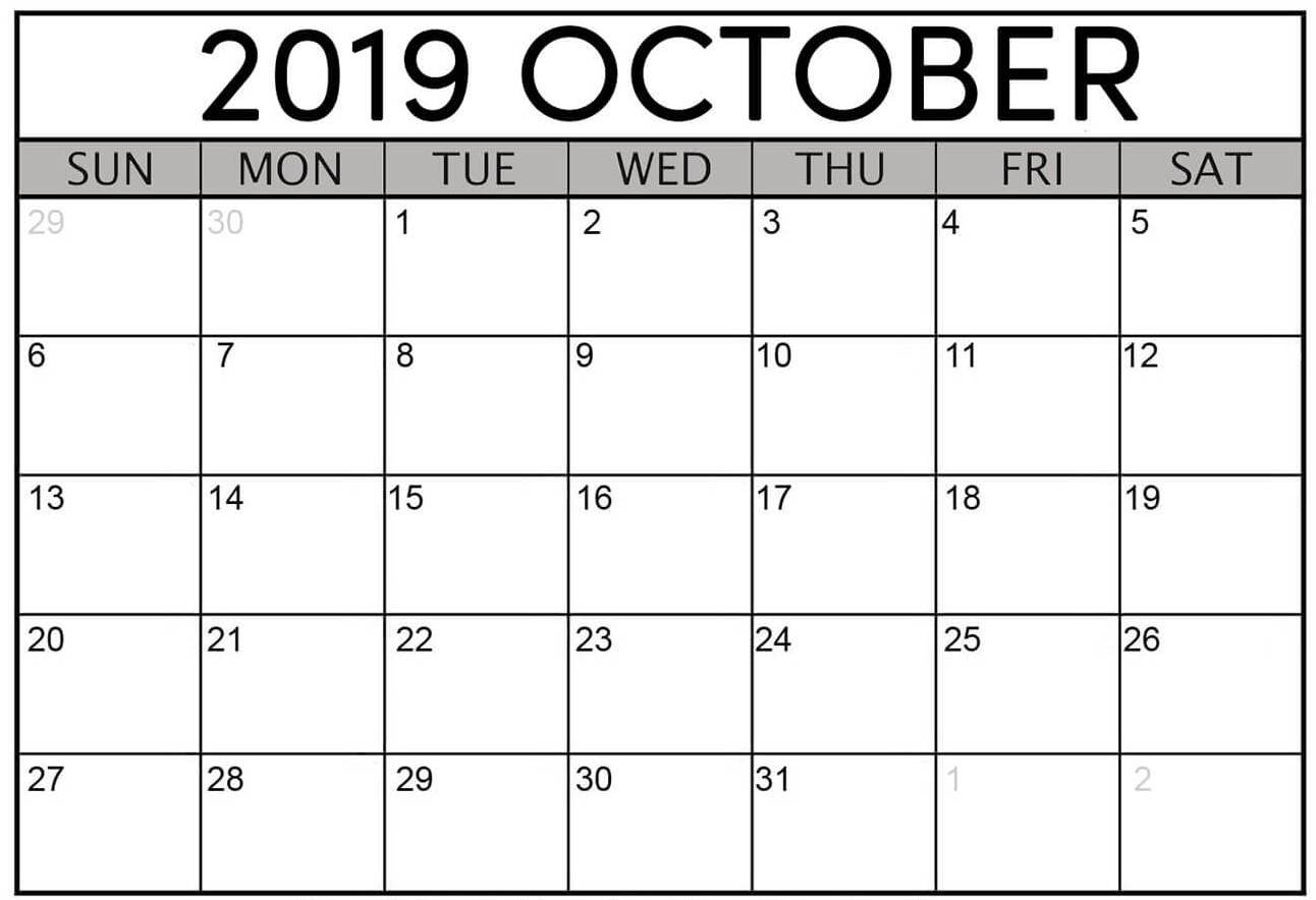Calendar for October 2019 Printable Template