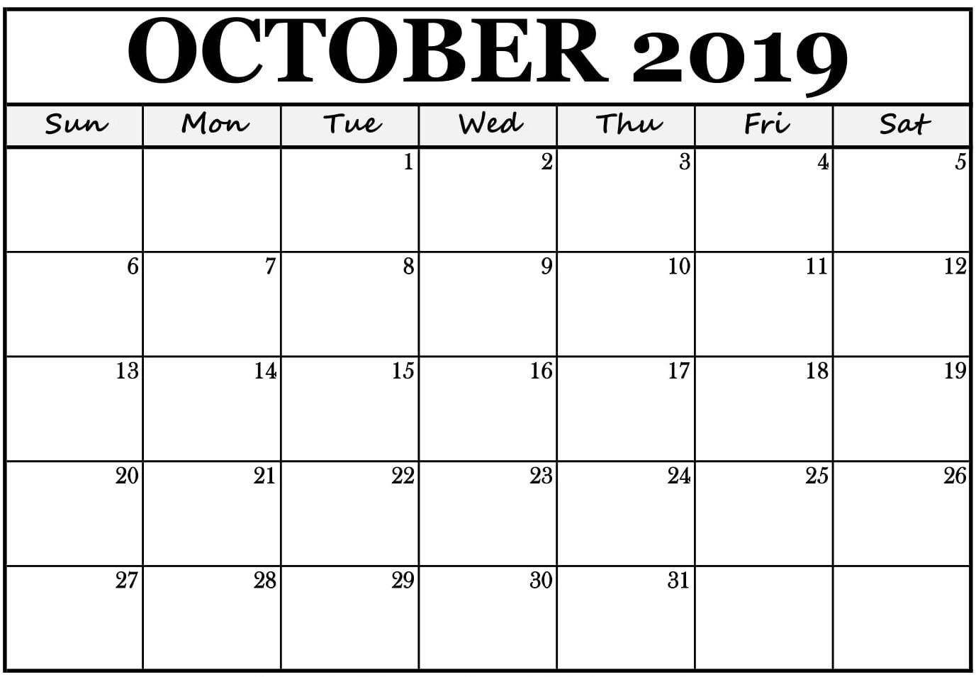 October 2019 Annual Calendar Template