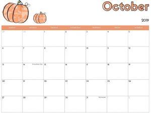 Online October 2019 Calendar Printable