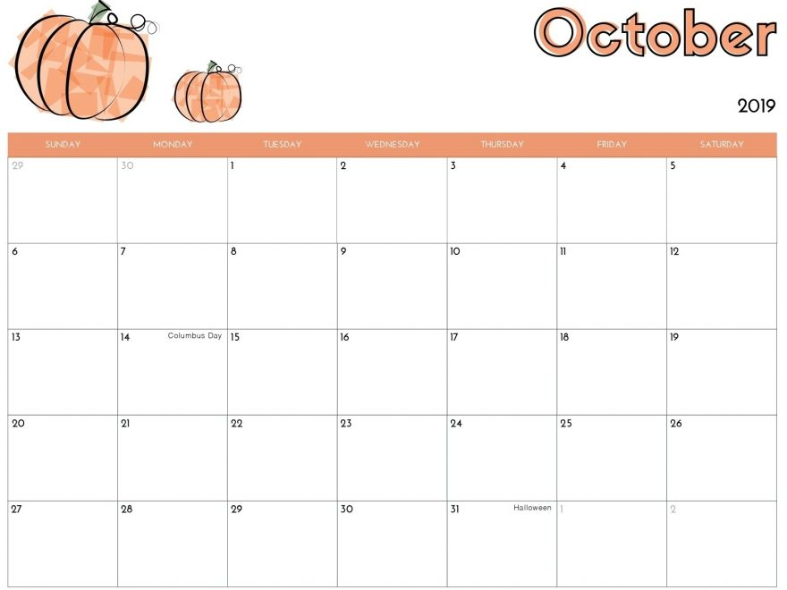 Online October 2019 Calendar Printable