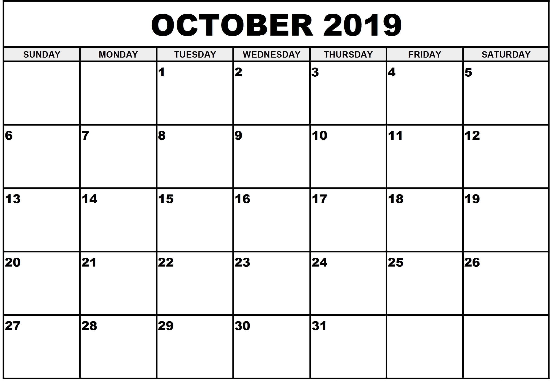 Print October 2019 Calendar Template