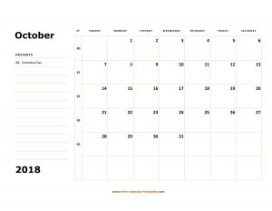 Printable Calendar For October 2018