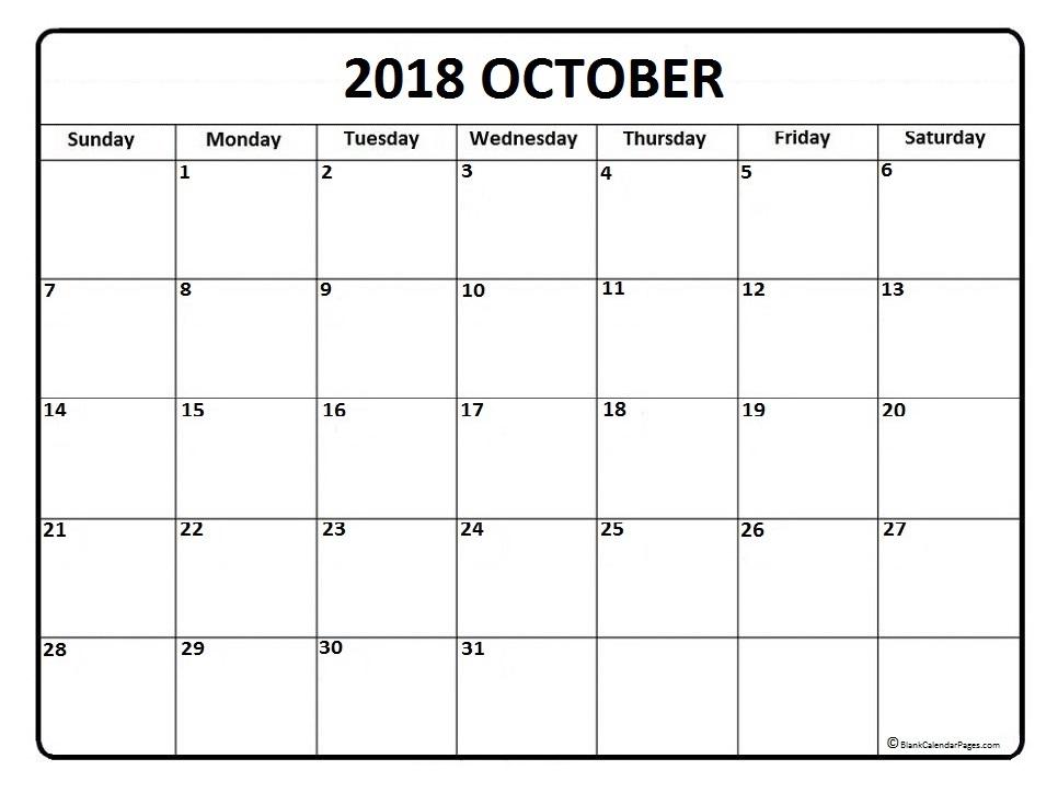 Printable October 2018 Calendar 2
