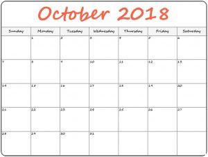 Printable October 2018 Calendar 4