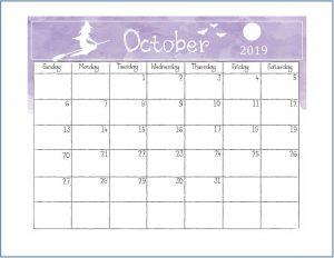 Printable October 2019 Calendar Cute
