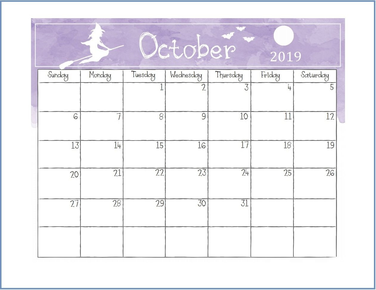 Printable October 2019 Calendar Cute