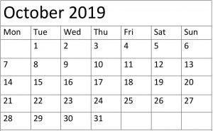 Printable October 2019 Calendar Page
