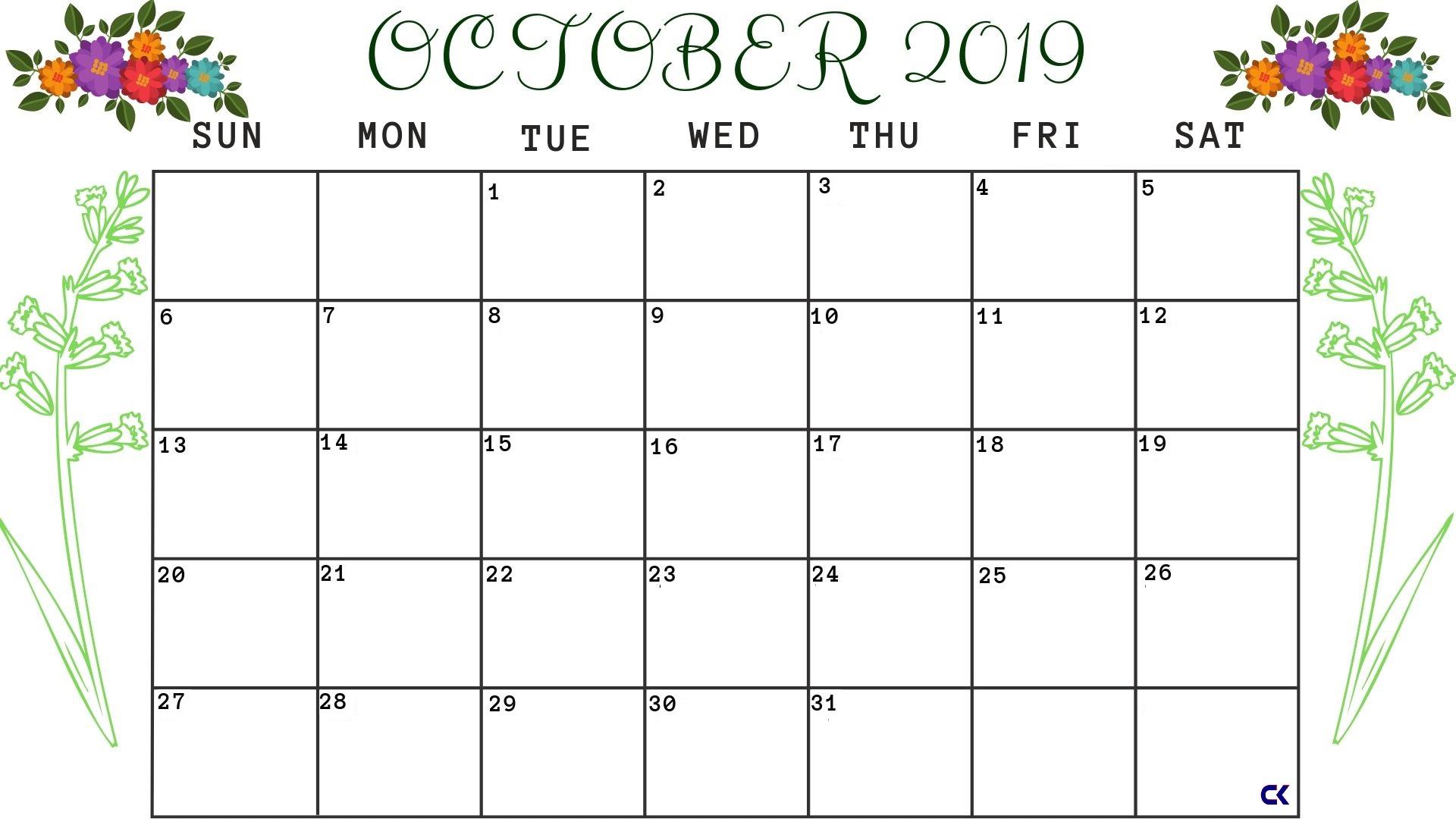 Printable October 2019 Floral Calendar