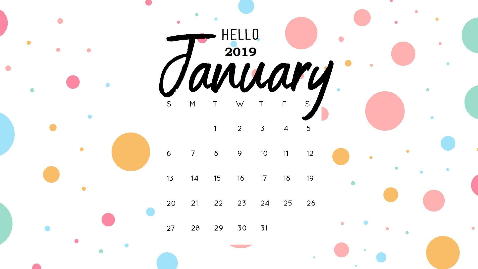 2019 Calendar January In Pdf