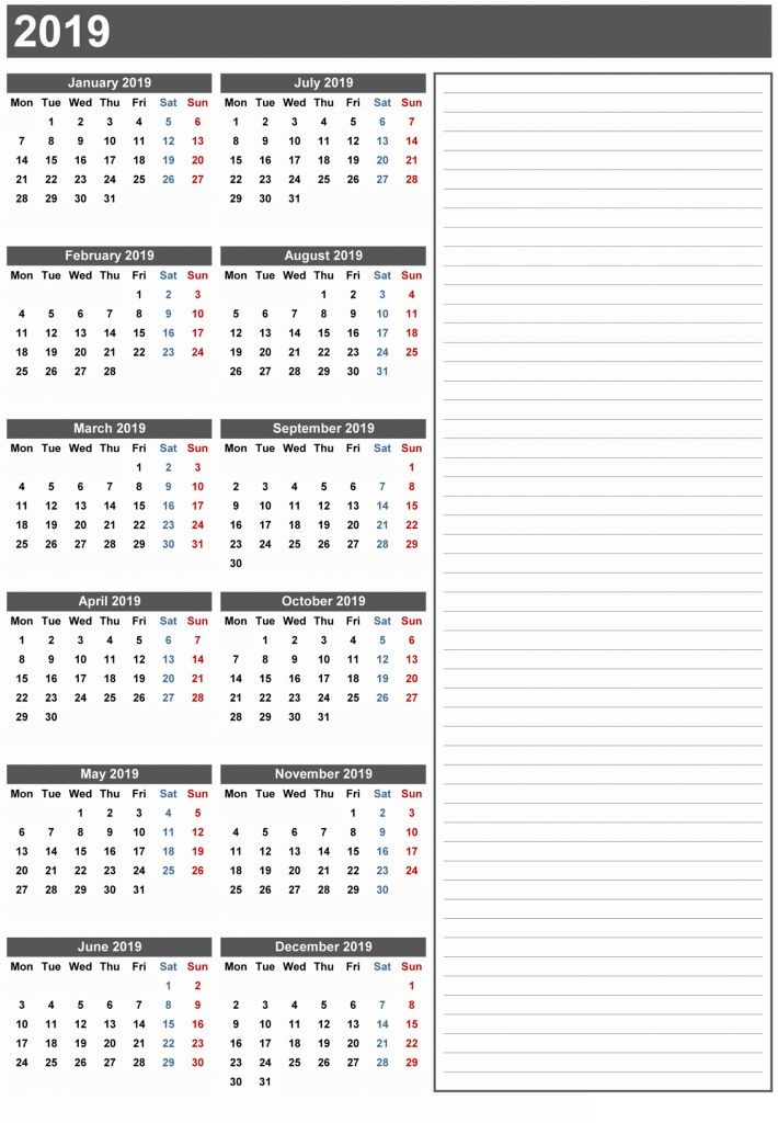 2019 Calendar Printable 12 Month Calendar On One Page