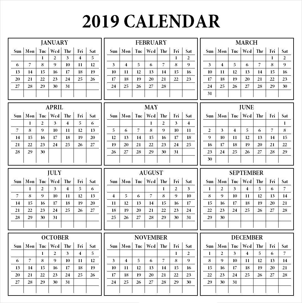 2019 Calendar Printable Template