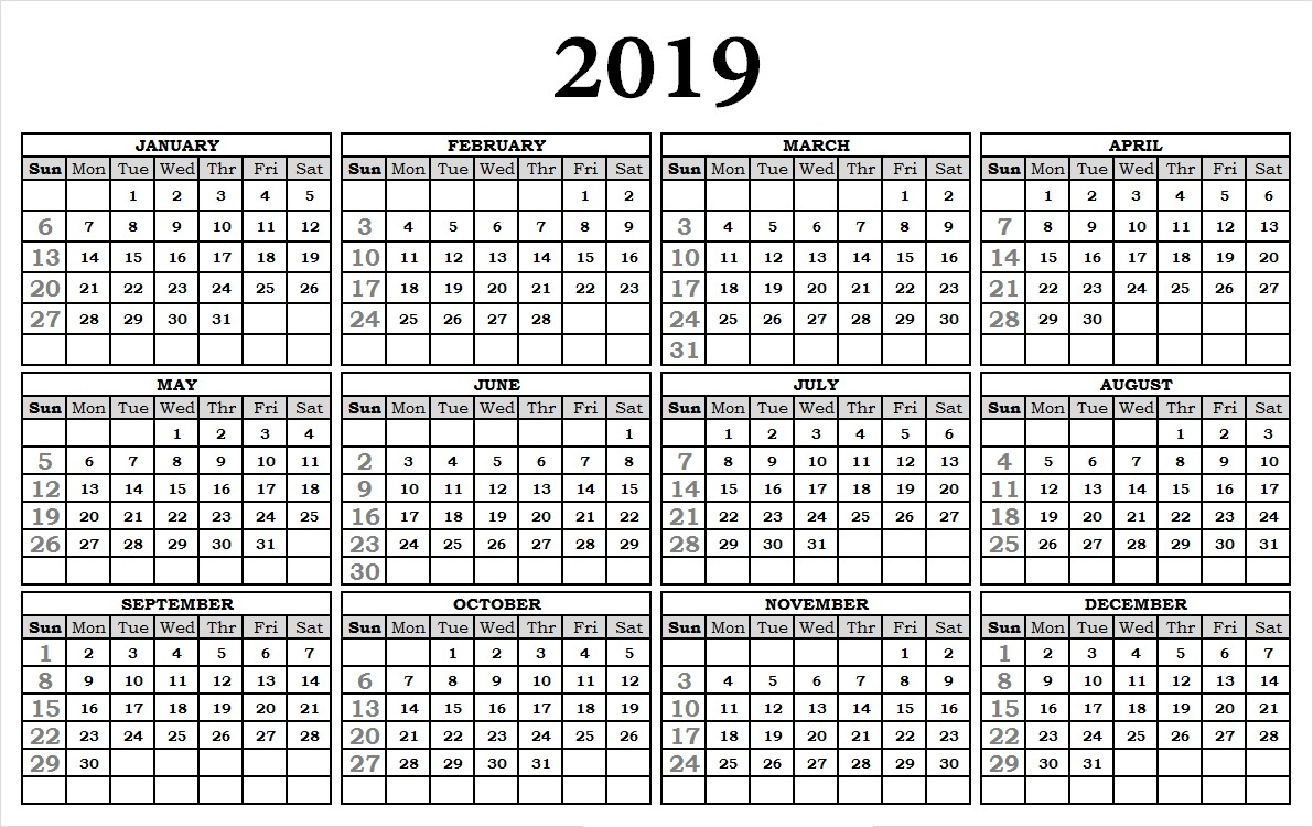 2019 Calendar Printable With Holidays