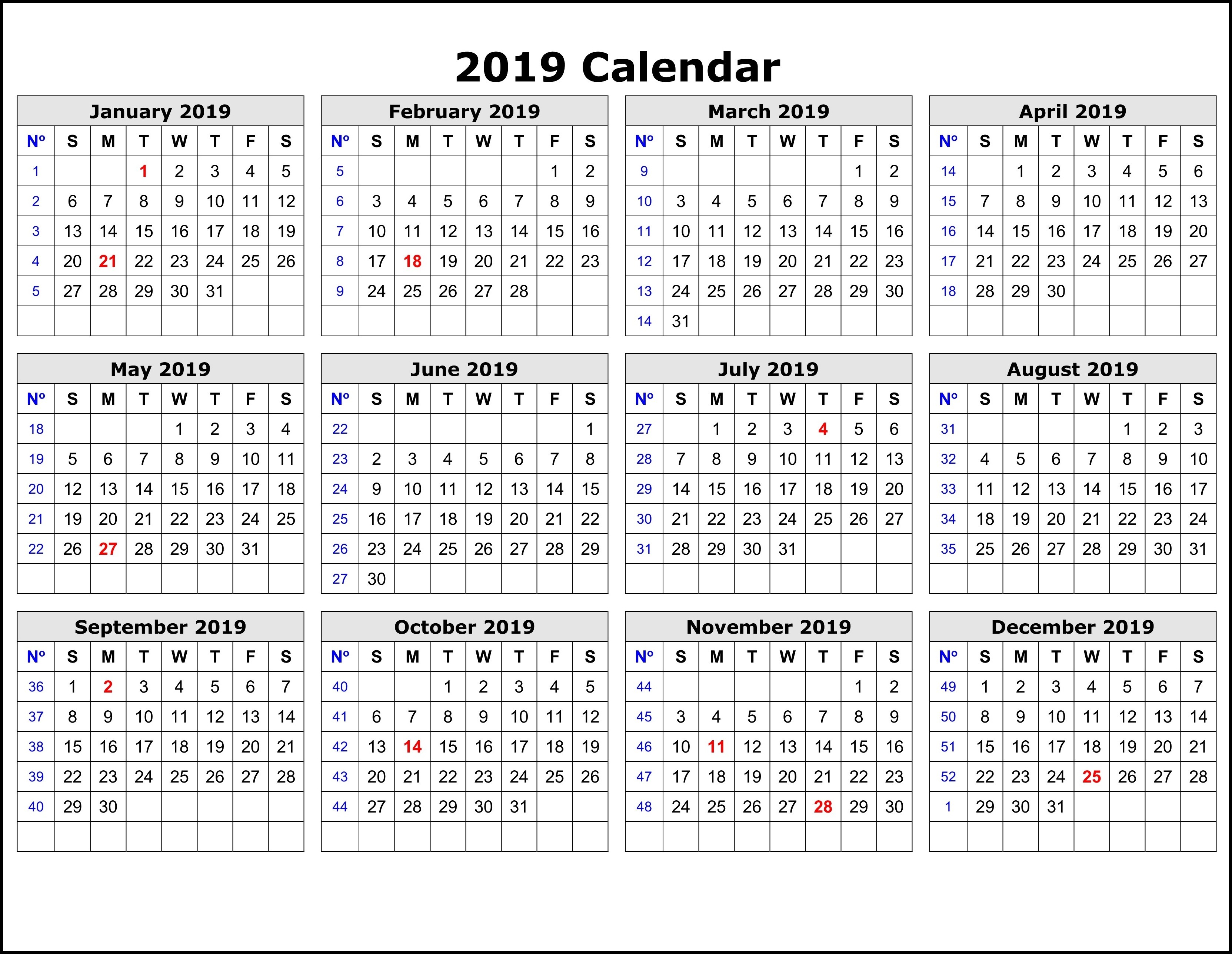 2019 Calendar Template By Week