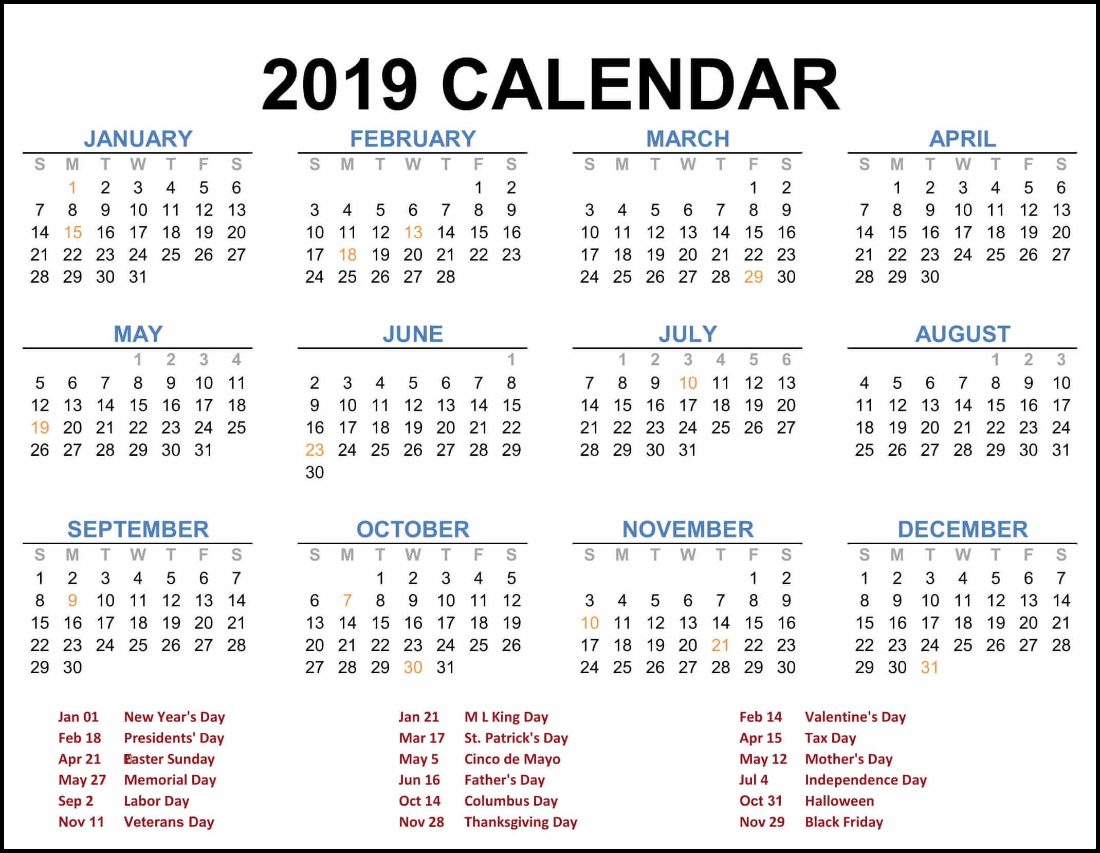 2019 Federal Holiday Calendar