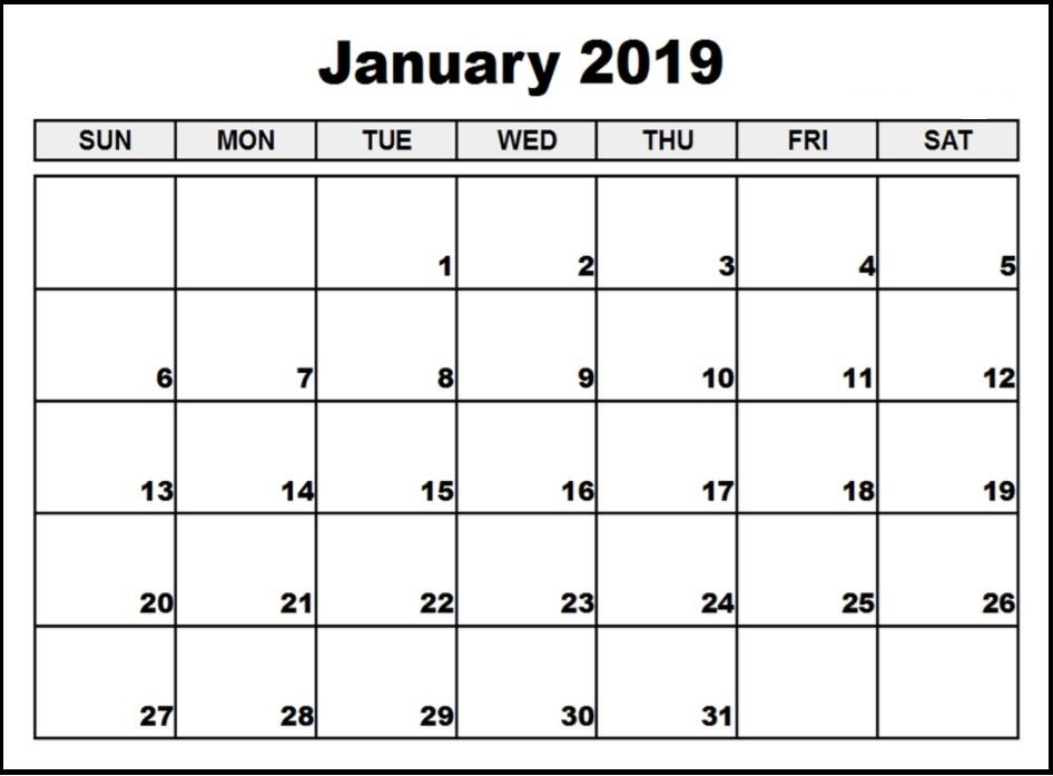 2019 January Blank Calendar
