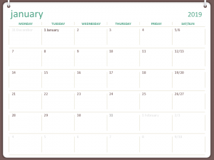 2019 January Calendar Philippines