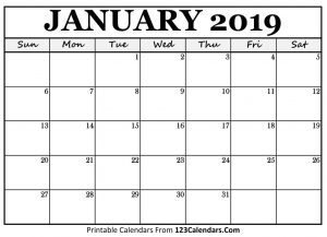 2019 January Calendar Word