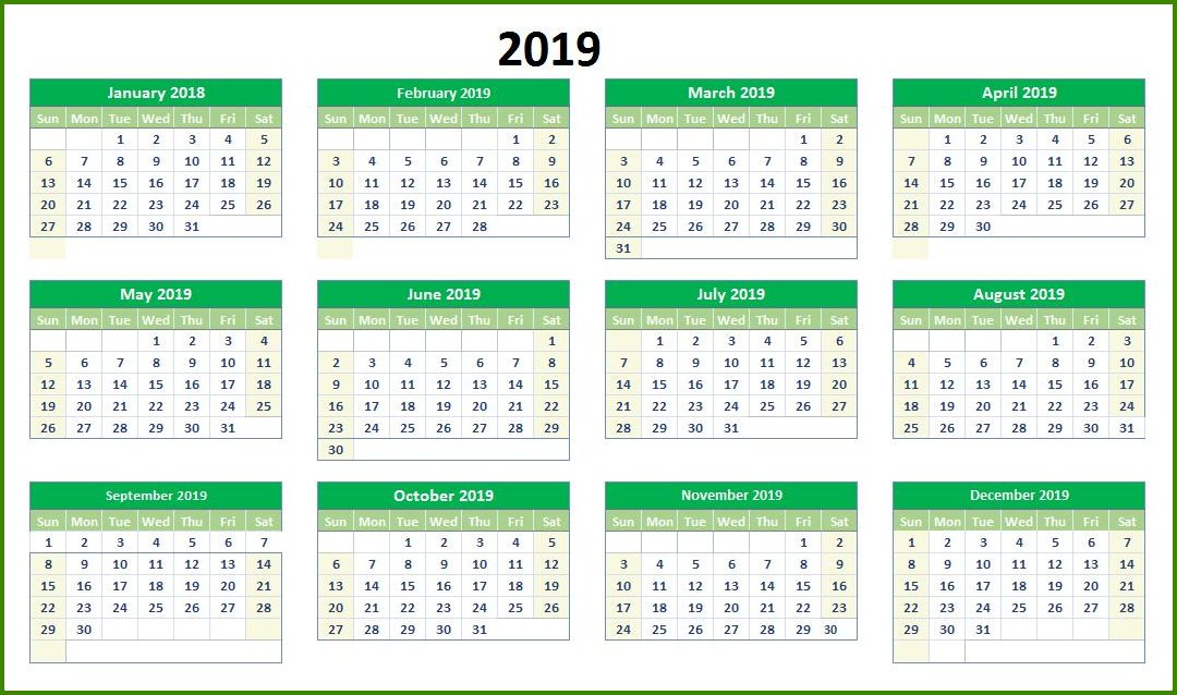 2019 Printable Calendar One Page