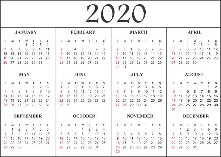 2020 Calendar PDF Template