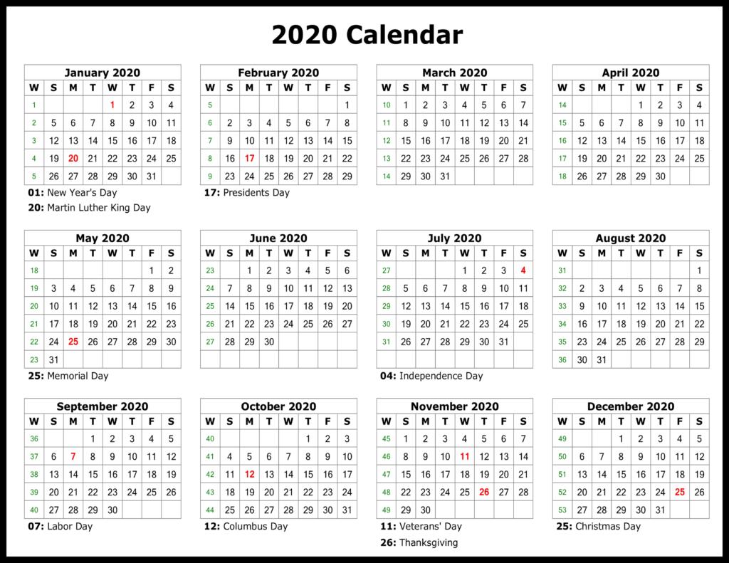 2020 Calendar Printable Template