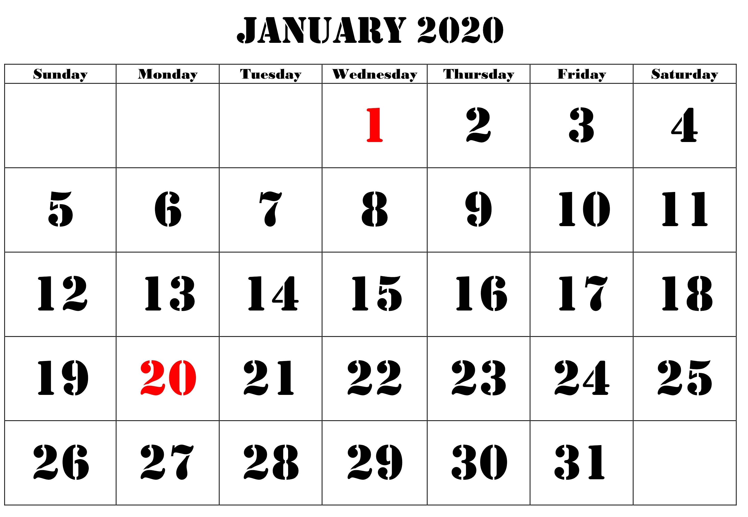 2020 January Printable Calendar