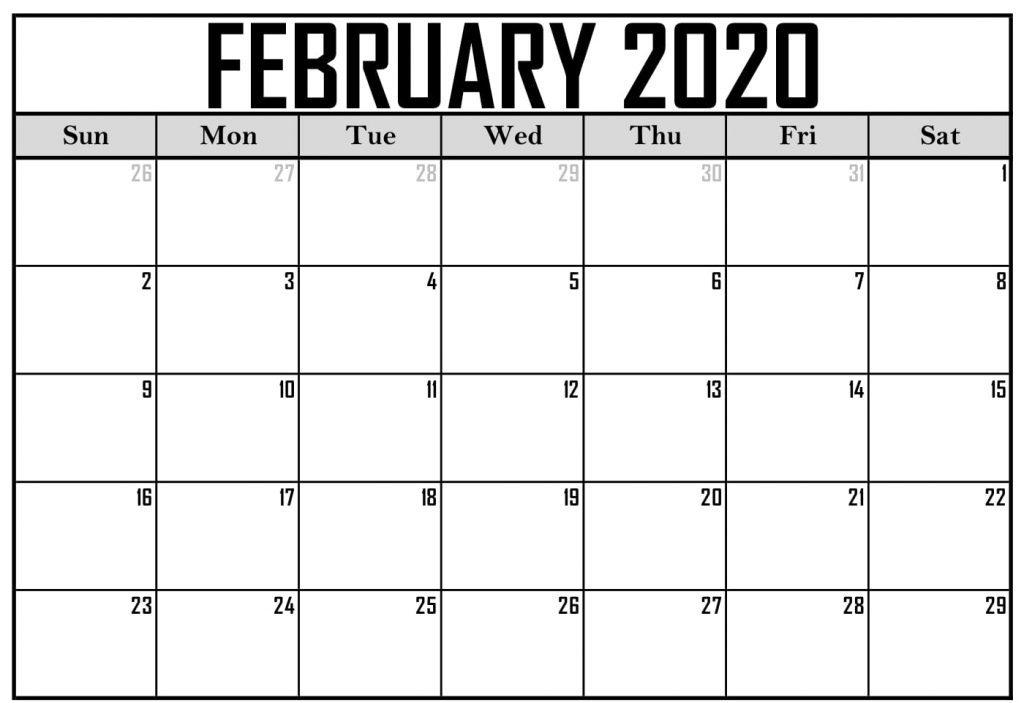 Blank Calendar February 2020