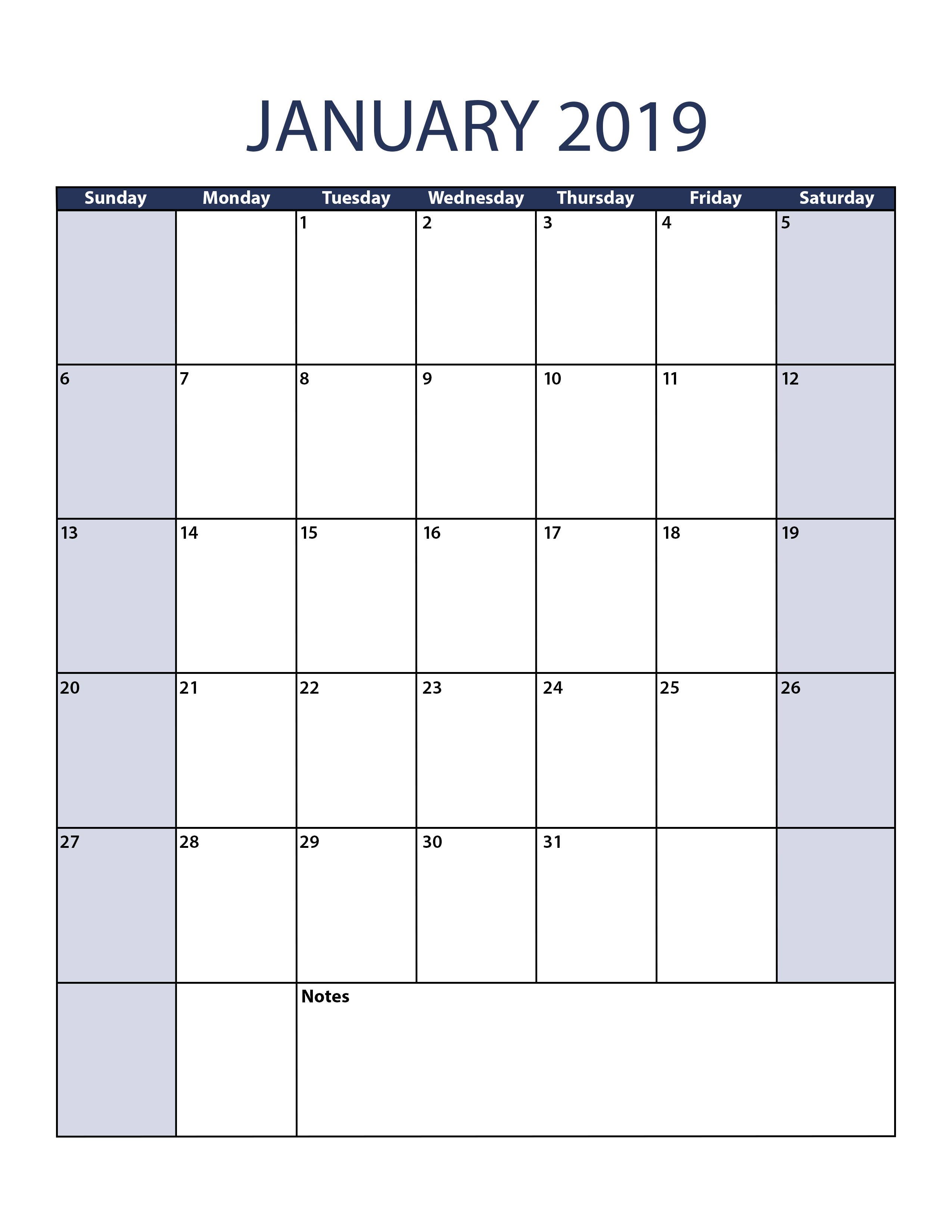 Blank January 2019 Calendar Planner