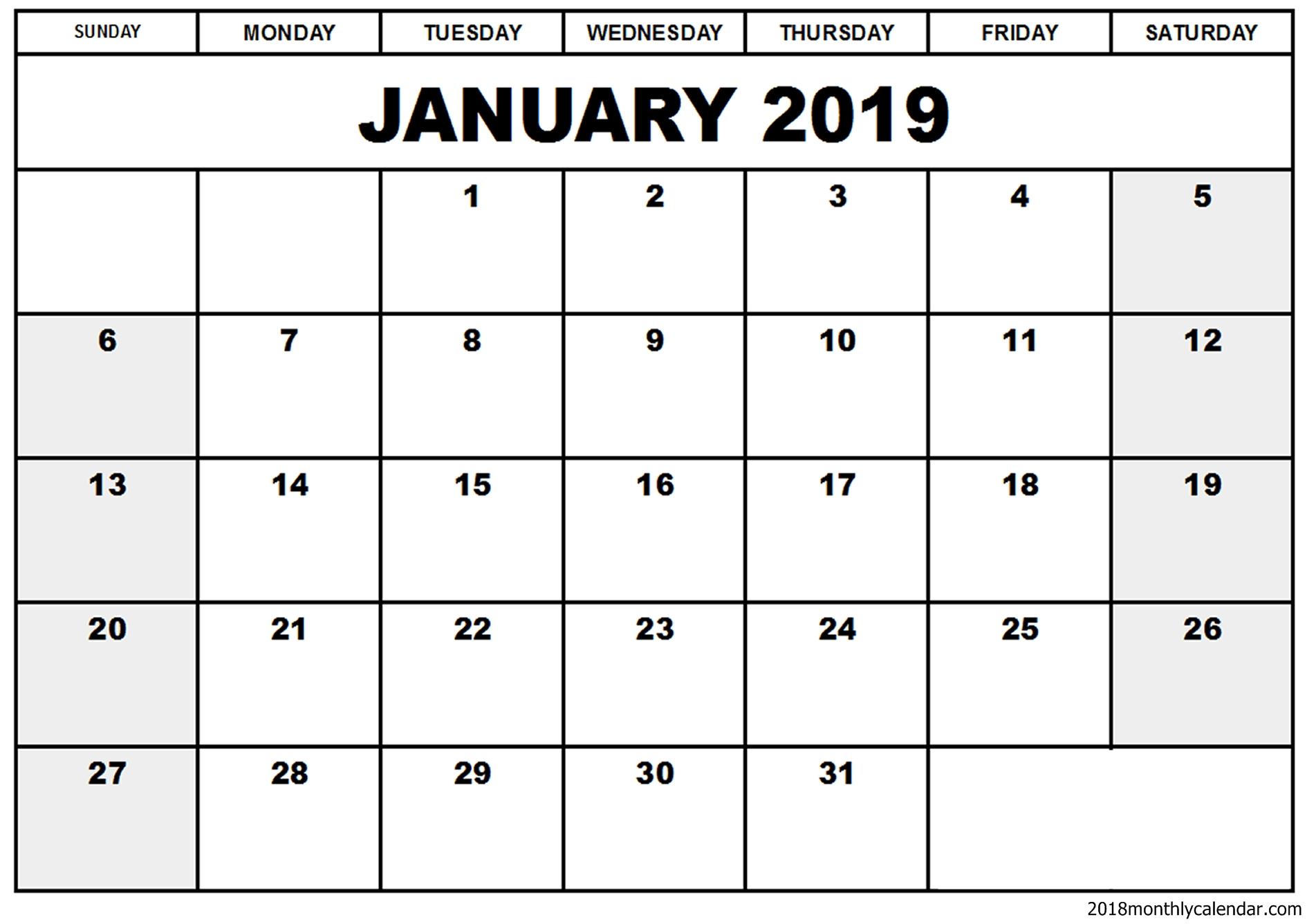 Blank January 2019 Calendar Template