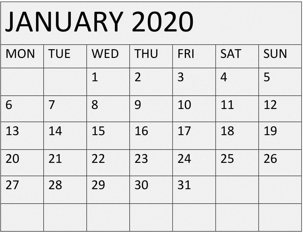 Blank January 2020 Calendar Monthly Template