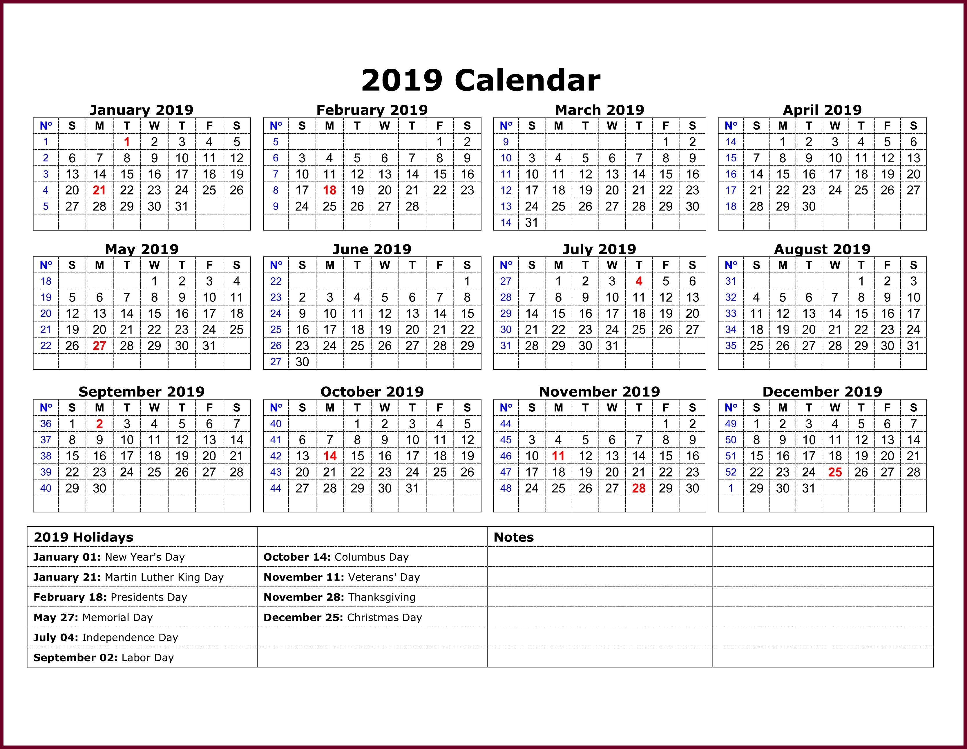 Calendar 2019 Template Excel