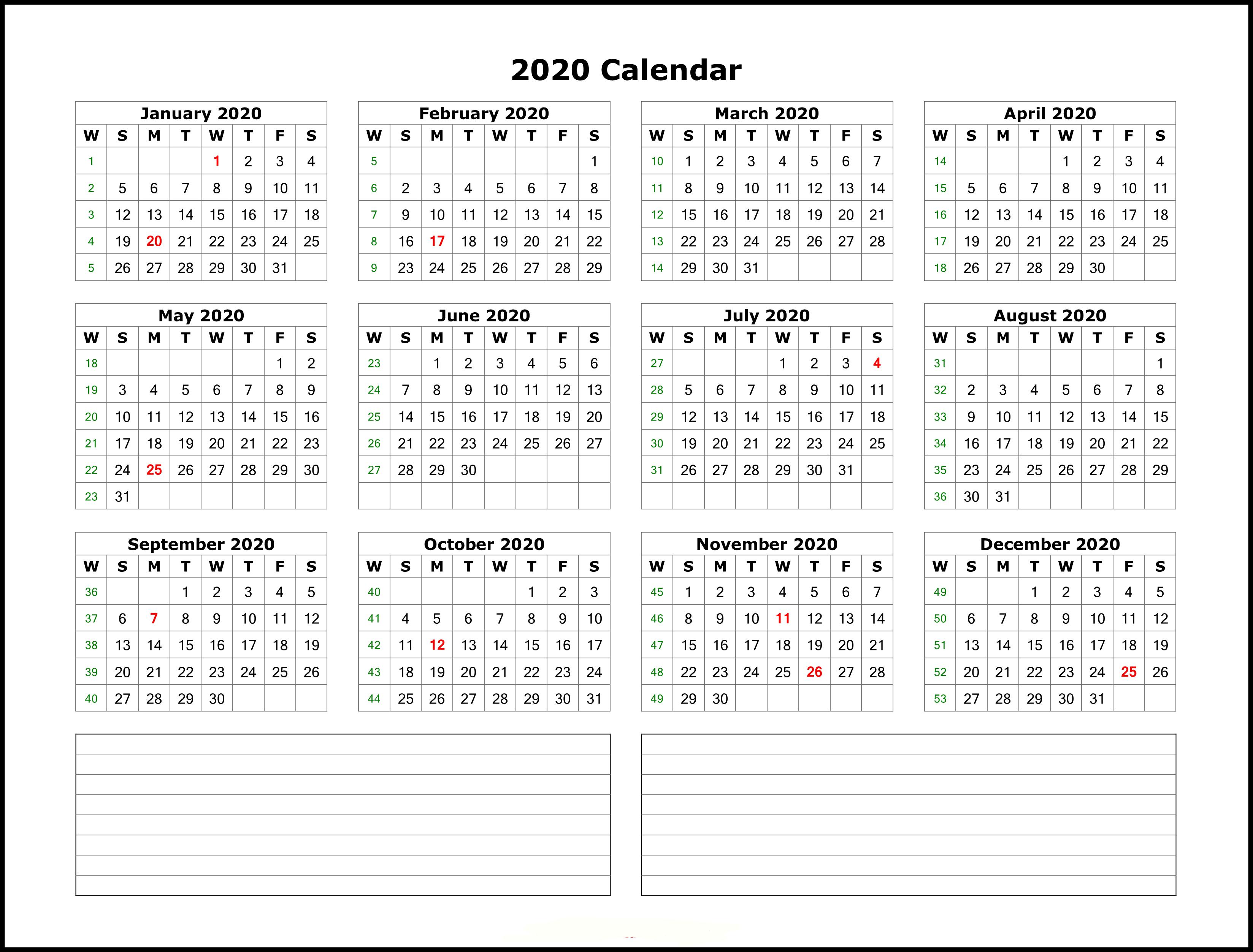 Calendar 2020 Template Excel
