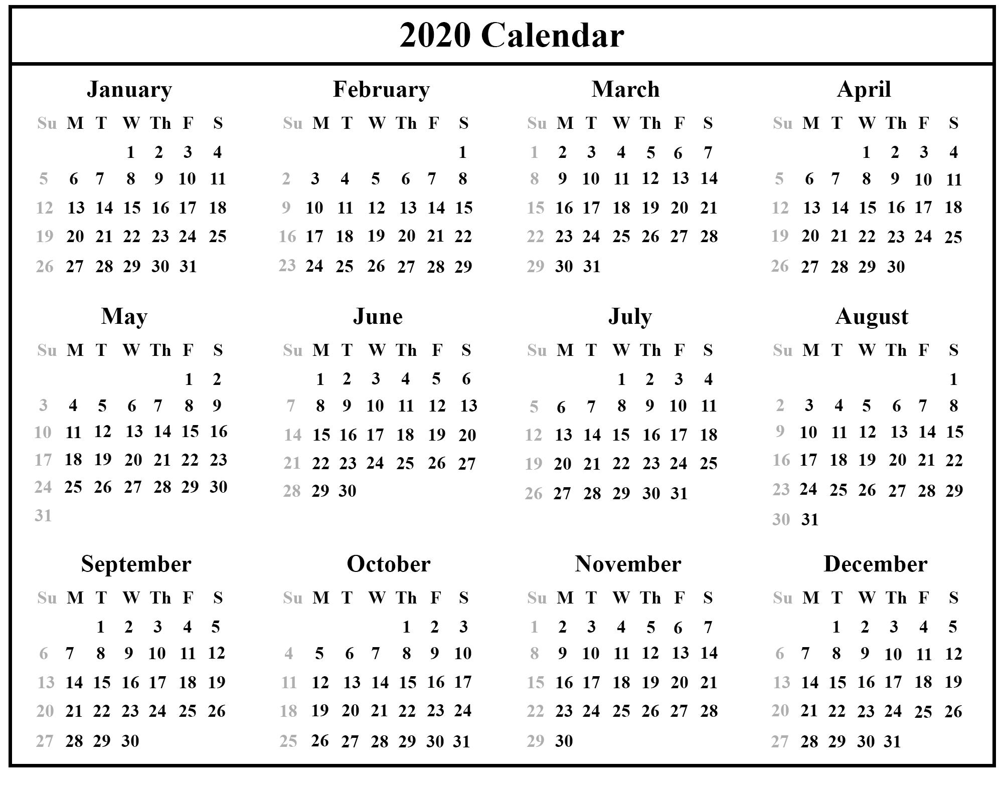 Calendar 2020 Template Word