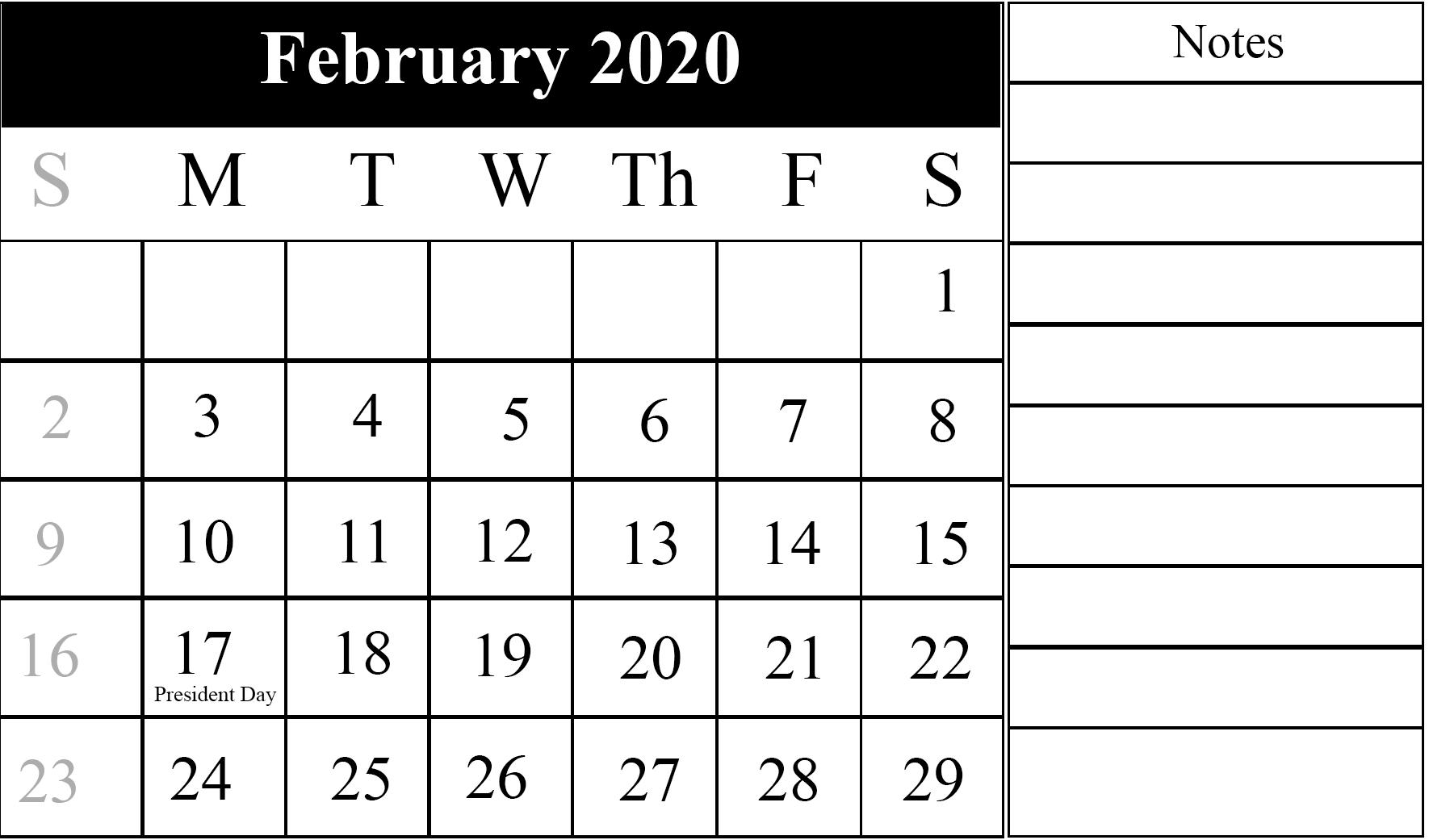 Calendar February 2020