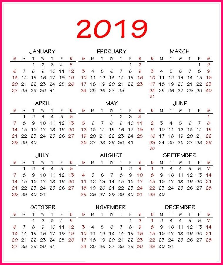 2019 Calendar PDF Template