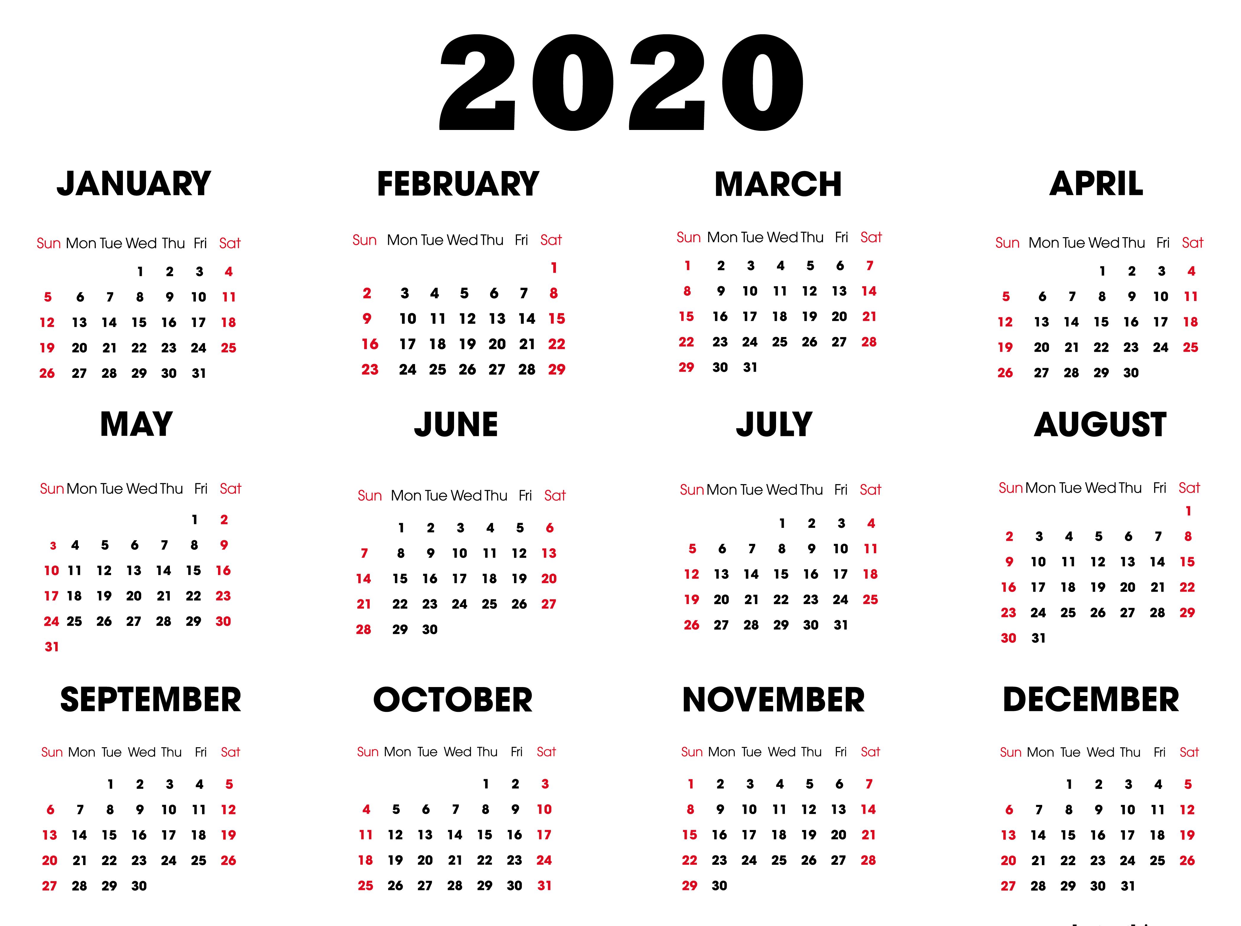 Calendar Template 2020