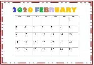 Cute February 2020 Calendar Template