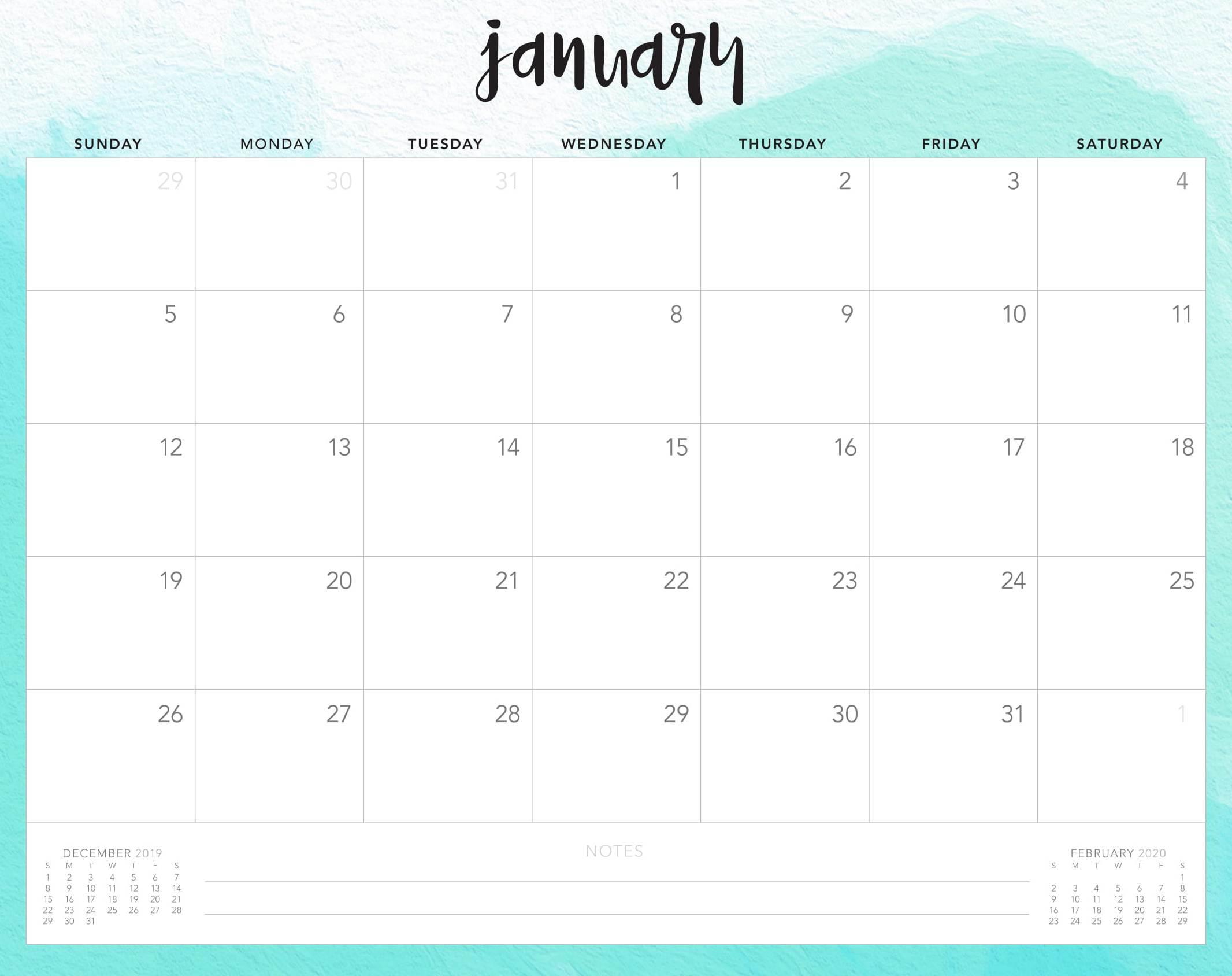 Cute January 2020 Desk Calendar