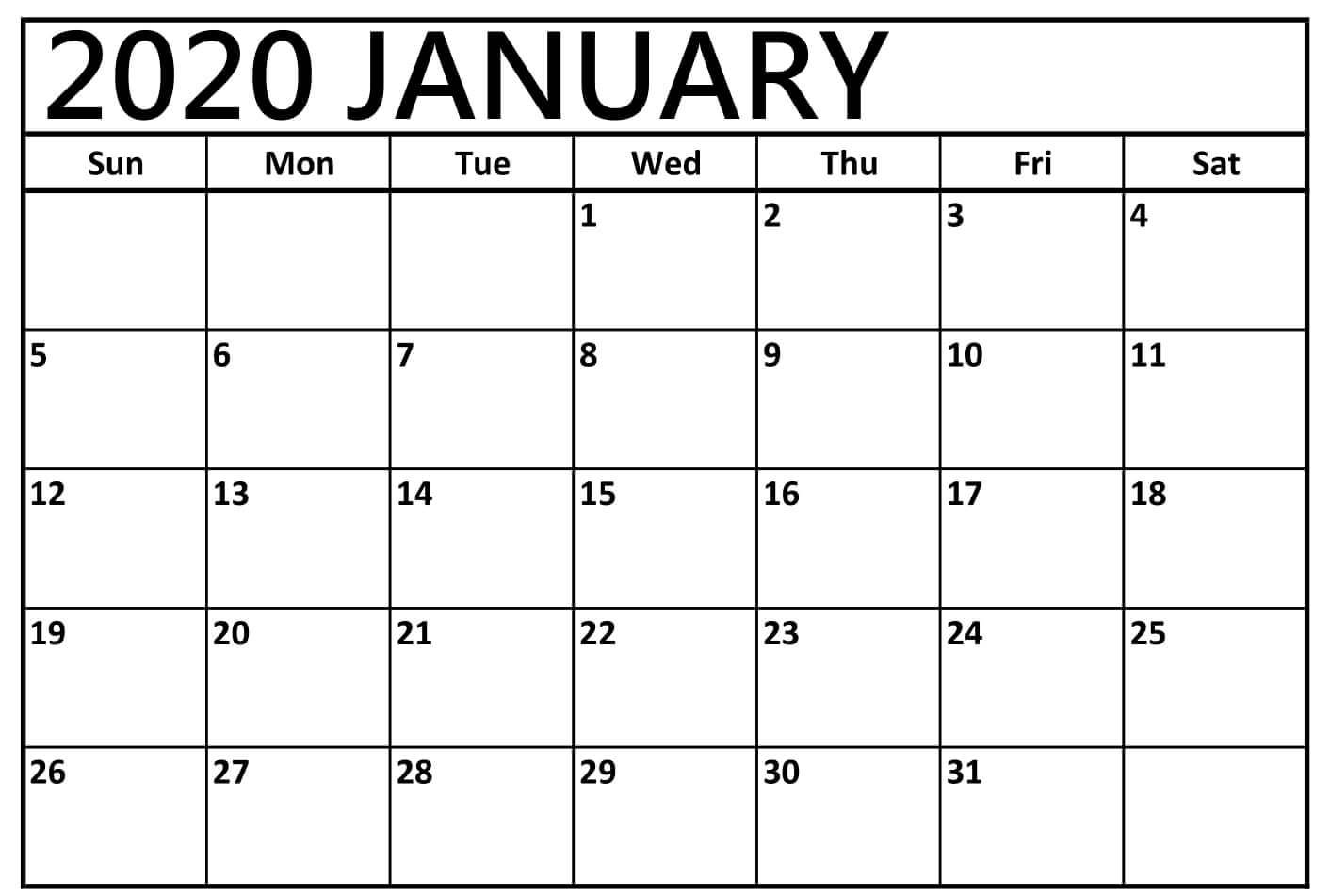 Download Free January 2020 Calendar