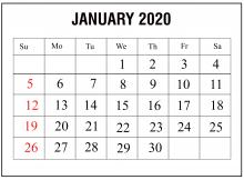 Editable Blank January 2020 Calendar Blank