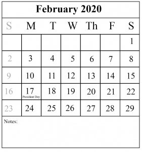 February 2020 Calendar Portrait