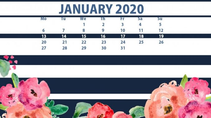Floral January 2020 Calendar Wallpaper