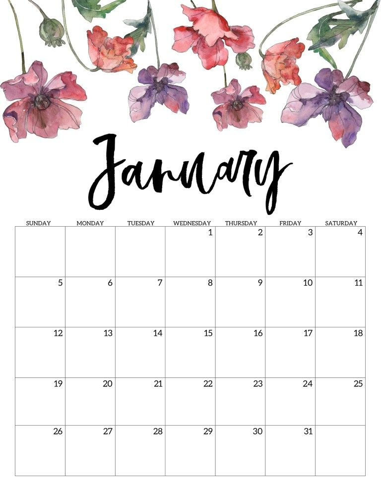 Flower January 2020 Calendar Template
