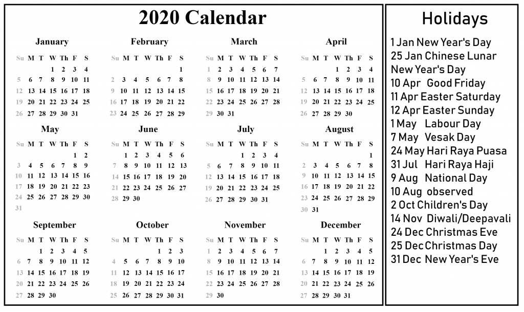 Free Blank 2020 Calendar Template