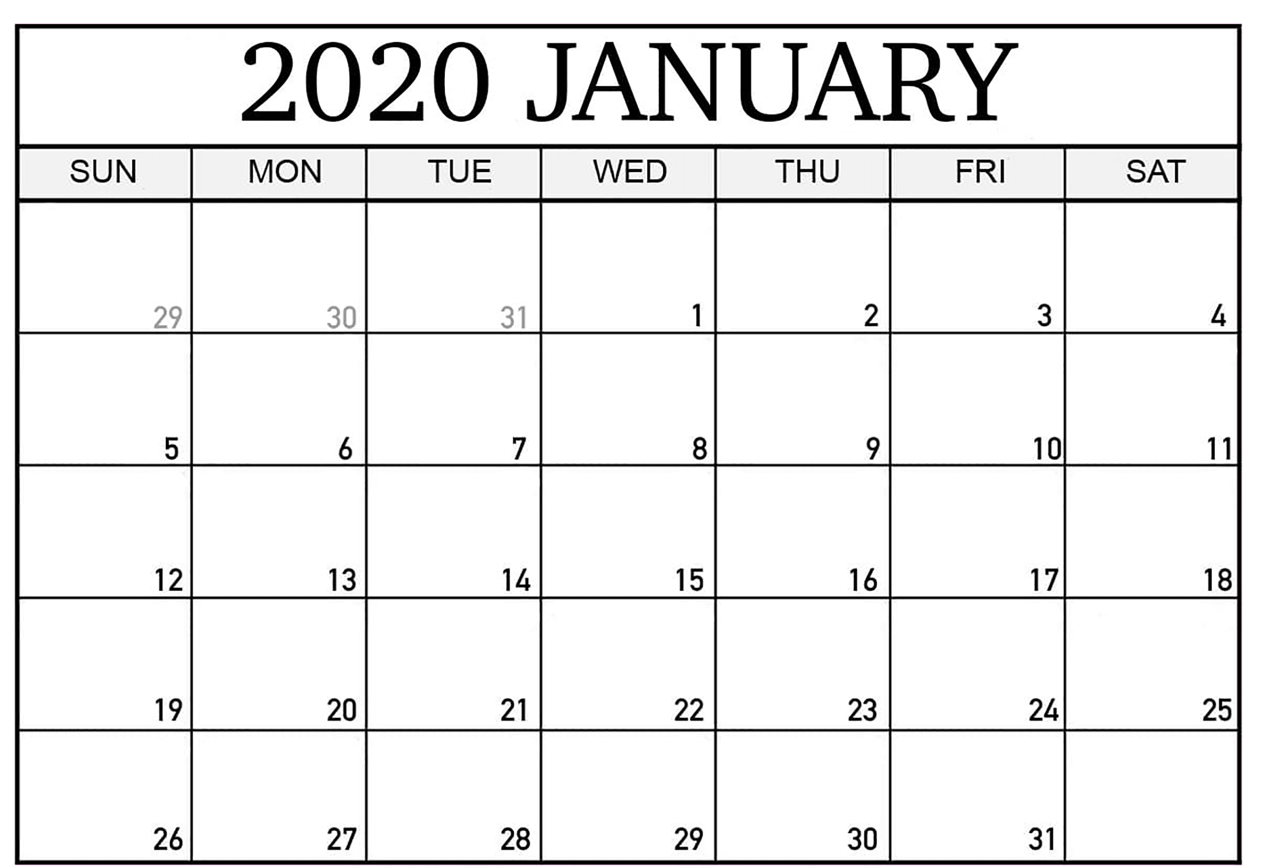 Free January 2020 Calendar Page